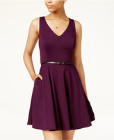 BCX Juniors' V-Neck Fit and Flare Dress with Belt