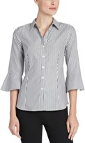 Jones New York Cotton Striped Bell-Sleeve Blouse