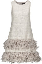Lela Rose Fringed metallic tweed mini dress