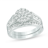 Zales 1 CT. T.W. Composite Diamond Collar Bridal Set in 10K White Gold