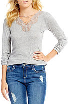 Jessica Simpson Yvetta Cross-Front Lace Trim Knit Top