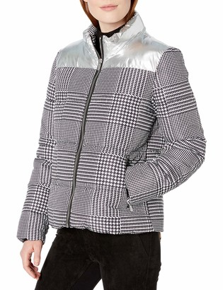 Calvin Klein Women's Glen Plaid Puffer with Silver