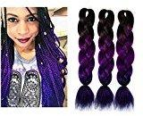 Fancy Look Hair Jumbo Braid Hair 3pcs/lot Synthetic Expressions Hair Extensions Cheap Braiding Hair Extensions (Black-Purple)