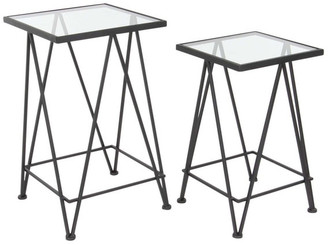 Brimfield & May Contemporary Square Glass and Iron Side Tables, 2-Piece Set, Black