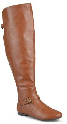 Brinley Co. Women's Wide Calf Buckle Tall Round Toe Riding Boots