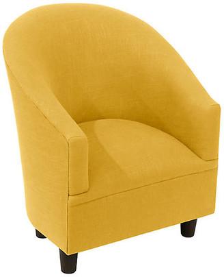 One Kings Lane Ashlee Kids' Chair - Mustard Linen - Espresso/Yellow