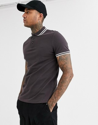 Asos Design DESIGN tipped pique polo shirt in brown