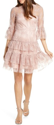 Brinker & Eliza Bell Sleeve Embroidered Lace Ruffle Dress