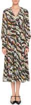 Erdem Osiris V-Neck Long-Sleeve Floral-Print Silk A-Line Dress
