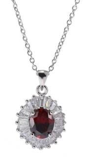 A&M A & M Silver-Tone Layered Garnet Accent Pendant Necklace