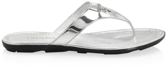 Prada Logo Metallic Leather Thong Sandals