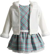 Youngland Baby Girl Textured Jacket & Plaid Dress Set
