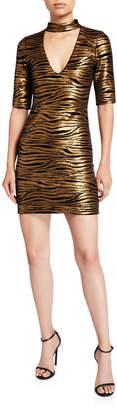 Alice + Olivia Inka Golden-Striped V-Neck Dress