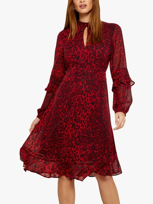 Sosandar Leopard Print Fit And Flare Ruffle Dress, Red