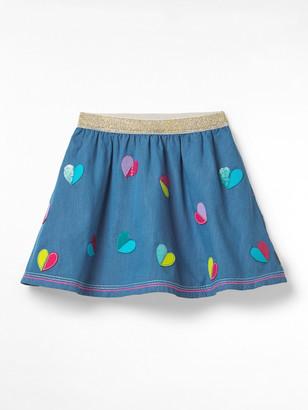 White Stuff Chambray Sequin Heart Skirt