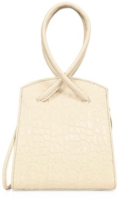 Little Liffner Twisted Croc-Embossed Leather Wristlet
