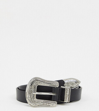 Glamorous waist and hip jeans belt in black with western buckle