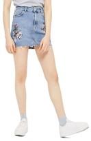 Topshop Women's Embriodered Denim Miniskirt