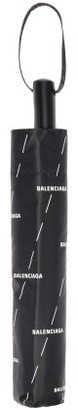 Balenciaga Logo-print Telescopic Umbrella - Black White