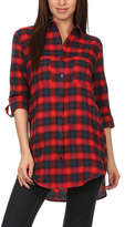 Blvd Red & Navy Plaid Button-Up Tunic