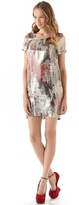 Chris Benz Metallic Print Dress with Short Sleeves