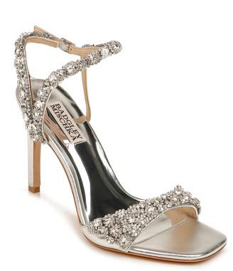 Badgley Mischka Galia Metallic Crystal Stiletto Sandals