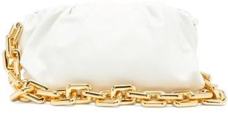 Bottega Veneta The Pouch Medium Chain-strap Leather Clutch - White