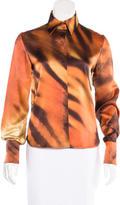 Roberto Cavalli Silk Tiger Print Top