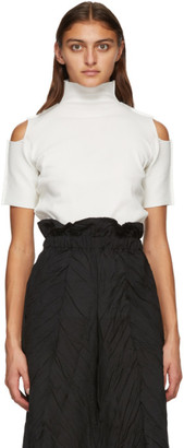 Issey Miyake White Cutout Short Sleeve Turtleneck