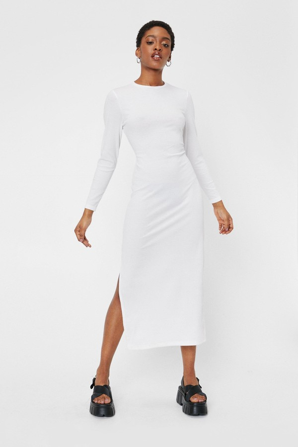 Thumbnail for your product : Nasty Gal Womens Long Sleeve Backless Tie Midi Dress - Black - 6