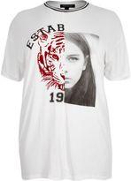 River Island Womens RI Plus white tiger print boyfriend T-shirt