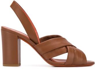 Santoni Cut-Out Detail Block Heel Sandals