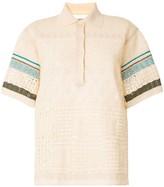 Coohem embossed eyelet knit polo shirt