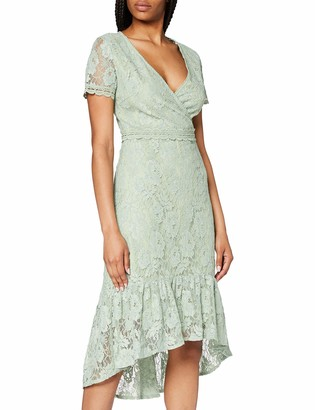 Yumi Women's Frill Dress with Lace Trim Detail Casual