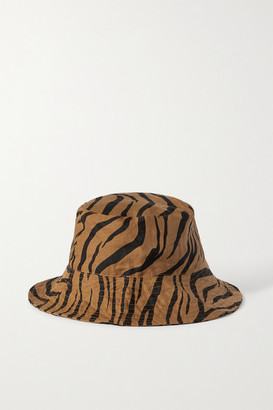 Faithfull The Brand Net Sustain Bettina Tiger-print Linen Sunhat