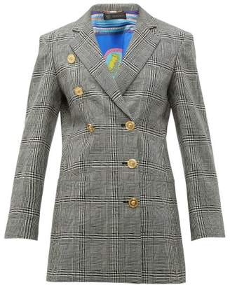 Versace Double-breasted Prince Of Wales-check Wool Blazer - Womens - Grey Multi