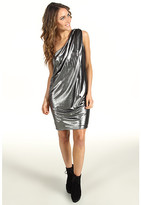 Vince Camuto Pleated Metallic One-Shoulder Dress
