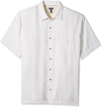Van Heusen Men's Size Big Air Short Sleeve Button Down Tropical Print Shirt