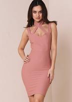 Missy Empire Alissa Dusty Pink Caged Halterneck Bodycon Midi Dress