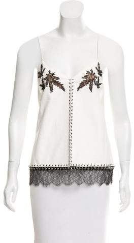 Alexander Wang Lace-Trimmed Leather Top w/ Tags