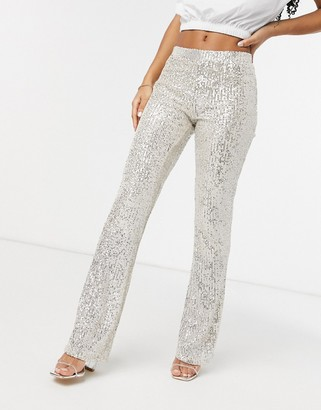 Pieces sequin flare pant co ord in silver
