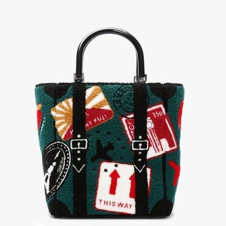 Lulu Guinness Travel Stamps Green Boucle Bibi Tote Bag