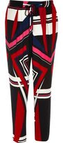 River Island Womens Red print soft tapered pants