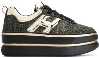 Hogan Chunky Heel Glitter Detail Sneakers