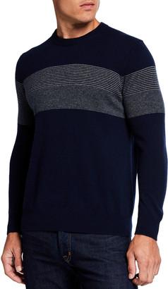 Neiman Marcus Men's Chest-Stripe Cashmere Sweater