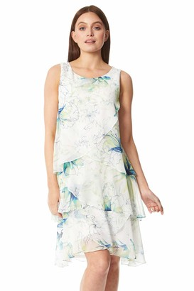 Roman Originals Women Floral Printed Layer Dress - Ladies Spring Summer Sleeveless Round Neck Race Day Special Occasion Wedding Guest Evening Ruffle Frill Dresses - Green - Size 12
