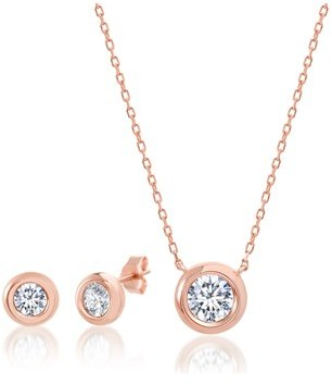 "Bliss 18k Rose Gold Sterling Silver Cz Station Disc 16"""" Cable Chain Necklace And Earring Set."