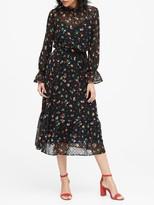 Banana Republic Petite Sheer Clip-Dot Midi Dress