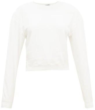 Haider Ackermann Satin-sleeve Cotton-jersey Sweatshirt - Womens - Ivory