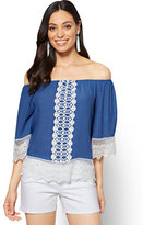 New York & Co. Lace-Trim Off-The-Shoulder Blouse